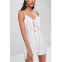 Girls Summer Hot Sale Straps Backless striped Print Cutout Casual Romper