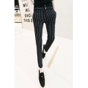 Men's Popular Fashion Stripe Pattern Slim Fit Black Cotton Casual Pencil Pants