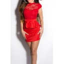Womens New Stylish Sexy Open Back Stand Collar Cap Sleeve Lace-Panel Peplum Mini Bodycon Club Dress