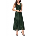Womens Fancy Elegant V-Neck Sleeveless Maxi A-Line Dress