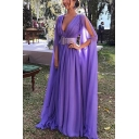 Summer Hot Sale Purple Split Sleeves Plunge V Neck Gather Belt Waist Elegant Evening Dress