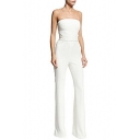 Summer White Strapless Sleeveless Cutout High Waist Hot Popular Fitted Jumpsuits
