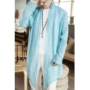 Mens Summer Retro Chinese Style Linen Open Front Long Sleeve Thin Cardigan Coat