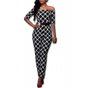 Hot Stylish Sexy Off Shoulder Half Sleeve Hardware Belt Check Printed High Waist Fitted Jumpsuits