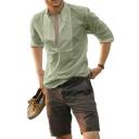Guys Summer New Stylish Simple Plain Long Sleeve Loose Leisure Shirt Blouse