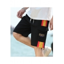 Men's Summer Trendy Colorblocked Stripe Letter Printed Flap Pocket Drawstring Waist Casual Cotton Cargo Shorts