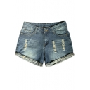 Vintage Distressed Ripped Rolled Cuff High Waist Hot Pants Denim Shorts