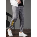 Men's New Stylish Plaid Letter ARANOIA Printed Drawstring Waist Grey Casual Retro Tapered Pants