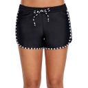 Womens Classic Fashion Contrast Trim Drawstring Waist Black Swim Shorts