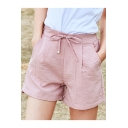 Girls Summer Fashion Bow-Tied High Rise Simple Plain Linen Loose Shorts