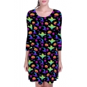 New Arrival Womens Round Neck Long Sleeves Halloween Ghost Pumpkin Print Pleated Mini Dress