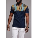 Mens Retro African Style Tribal Print V-Neck Short Sleeve Fitted T-Shirt