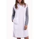 New Stylish V Neck Patched Long Sleeve Pocket Front Split Side Stand Collar White Midi Shirt Dress