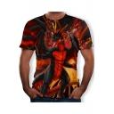 Jurassic Fire Dinosaur Pattern Basic Short Sleeve Round Neck T-Shirt