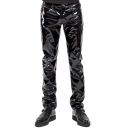 Men's Hot Fashion Solid Color Black High Gloss Patent Leather Sexy Night Club Pants