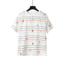 Summer Girls Sweet Fruit Striped White Short Sleeve T-Shirt