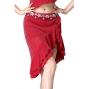 Womens Hot Sexy Fashion Beading Embellished Drawstring Side Ruffle Trim Mini Skirt for Dance