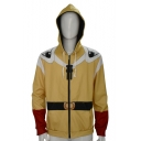 Fashion Color Block Long Sleeve Zip Up Yellow Cosplay Costume Hoodie