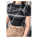 Girls Summer Cool Street Fashion Short Sleeve Black Chain Print Slim Crop Tee