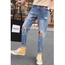 Men's Trendy Simple Plain Knee Cut Light Blue Distressed Ripped Jeans