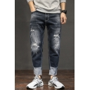 Men's New Fashion Colorblock Cuffs Patched Letter FASHION MENS Pattern Dark Blue Relaxed Fit Ripped Jeans
