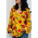 Trendy Womens Floral Print V Neck long Sleeve Chic Loose Leisure Blouse