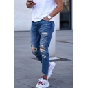 Street Trendy Cool Knee Cut Blue Slim Distressed Ripped Jeans for Men