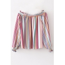 Summer Hot Stylish Rainbow Striped Off Shoulder Flounce Trim Casual Loose Blouse