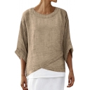 Summer Womens Hot Stylish Round Neck Oversize Half Sleeve Dipped Hem Blouse T-Shirt