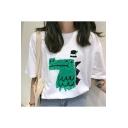 Fashion Summer Womens White Cartoon Printed Round Neck Short Sleeve T-Shirts