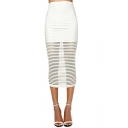 Summer Hot Trendy White Striped Simple Slim Fitted High Waist Midi Skirt for Women
