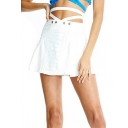 Summer Hot Stylish Cutout Letter Gaga Print Beading Embellished Mini A-Line Skirt