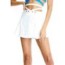Summer Hot Stylish Cutout Letter Gaga Print Beading Embellished Mini A-Line Skirt