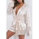 New Trendy Womens Plain Plunge V Neck Contrast Trim Long Sleeve Bow Tie Pajamas Rompers