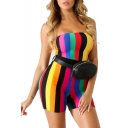 Hot Sexy Stylish Rainbow Striped Sleeveless Elastic Waist Skinny Fit Bandeau Rompers