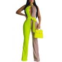 Women Stylish Colorblock Halter Neck Sleeveless Cutout Tie Waist Stretch Sexy Club Jumpsuits