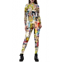 Womens Hot Trendy Long Sleeve Printed Skinny Fitted Casual Playsuit Jumpsuits