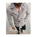 Mens Hot Popular Notched Lapel Collar Long Sleeve Belted Waist Double-Breasted Plain Fitted Pea Coat