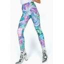 Trendy Chic Womens High Waist Multicolor Abstract Printed Stretch Shaped Fitted Legging Pants