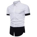 Mens Popular Color Block Short Sleeve Split Side Slim Fit Button Up Shirt