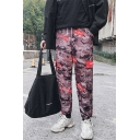 Men's New Fashion Camouflage Letter Printed Drawstring Waist Loose Cargo Pants with Side Pockets