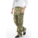 Men's Popular Fashion Cool Camouflage Printed Army Green Multi-pocket Tactical Trousers Cargo Pants