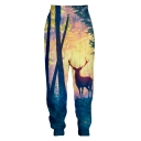 New Stylish Creative Deer 3D Printed Casual Loose Jogging Sweatpants