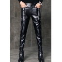 Men's Personalized Fashion Solid Color Letter Robbie Zip Embellished Black Leather Biker Pants