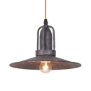 Factory Saucer Shade Pendant Light Iron 1 Light Vintage Stylish Hanging Light in Rust