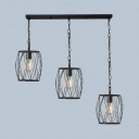 3 Lights Barrel Cage Pendant Light Industrial Metal Hanging Light in Black for Kitchen