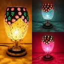 Mosaic Goblet Shaped Night Light 1 Head Stained Glass Table Lamp in Blue/Red/Yellow for Living Room