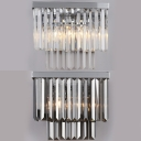 Modern Stylish Rectangle Wall Light Clear/Smoke Glass Sconce Light in Chrome for Hallway Stair