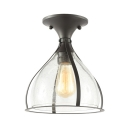 Bubble Glass Goblet Shade Ceiling Mount Light One Light Antique Stylish Flush Light in Black for Porch