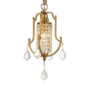 Traditional Bell Mini Chandelier Metal 1 Light Gold Hanging Light with Crystal for Cloth Shop